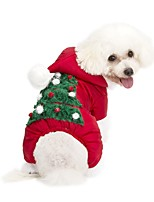 Dog Hoodie Jumpsuit Dog Clothes Casual/Daily Keep Warm Christmas New Year's Floral / Botanical Red Costume For Pets