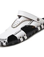 Для мужчин обувь Полиуретан Весна Осень Удобная обувь Сандалии Назначение Повседневные Белый Черный Коричневый