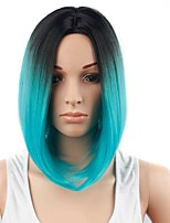 Women Synthetic Wig Capless Short Blue Ombre Hair Party Wig Costume Wig