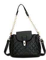 Women Bags All Seasons PU Shoulder Bag Sashes/ Ribbons Zipper for Shopping Casual Black