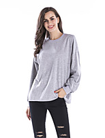 Women's Daily Holiday Winter Fall T-shirt,Letter Round Neck Long Sleeves Cotton Thin