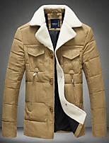 Men's Short Padded Coat,Simple Going out Casual/Daily Solid-Polyester Others Polypropylene Long Sleeves