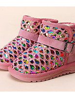 Girls' Shoes Paillette Fall Winter Comfort Snow Boots Boots For Casual Blushing Pink Blue Fuchsia