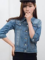 Veste en jean Femme,Couleur Pleine Sortie Chic de Rue Automne Manches longues Col de Chemise Normal Autres