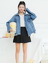 Feminino Jaqueta jeans Casual Simples Outono,Sólido Padrão Algodão Outros Colarinho de Camisa Manga Longa