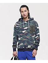Men's Going out Casual/Daily Simple Hoodie Camouflage Hooded Micro-elastic Cotton Spandex Long Sleeve Fall