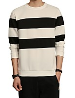 Men's Plus Size Casual/Daily Simple Sweatshirt Striped Color Block Round Neck Micro-elastic Cotton Spandex Long Sleeve Fall Winter