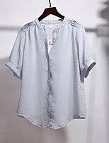 Women's Going out Cute Blouse,Solid Crew Neck 3/4 Length Sleeves Cotton Acrylic