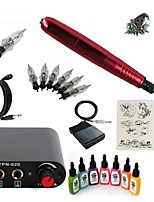 Starter Tattoo Kit 1 rotary machine liner & shader Tattoo Machine Mini power supply 7 × 15ml Tattoo Ink 5 x disposable grip