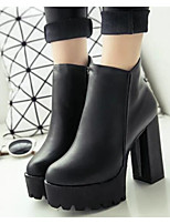 Women's Shoes PU Fall Winter Fashion Boots Combat Boots Boots Chunky Heel Square Toe Mid-Calf Boots For Casual Black