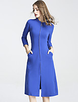 Women's Daily Going out Casual Chinoiserie Sheath Dress,Solid Stand Knee-length 3/4 Length Sleeves Cotton Spandex Winter Fall Mid Rise