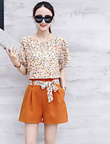 Women's Casual/Daily Simple Summer T-shirt Pant Suits,Print Round Neck Short Sleeve Micro-elastic