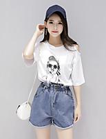 T-shirt Da donna Casual Semplice Con stampe Rotonda Cotone Manica corta