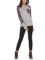 Women's Daily Holiday Casual Street chic T-shirt,Plaid Round Neck Long Sleeves Polyester