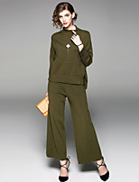 EWUS Women's Going out Casual/Daily Street chic Fall Blouse Pant SuitsSolid Stand Long Sleeve Split Stretchy