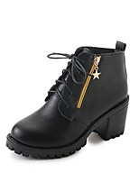 Women's Shoes PU Fall Combat Boots Boots Chunky Heel Round Toe Lace-up For Casual Black