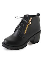 Для женщин Обувь Полиуретан Осень Армейские ботинки Ботинки На толстом каблуке Круглый носок Шнуровка Назначение Повседневные Черный