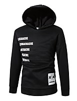 Men's Daily Sports Active Street chic Hoodie Solid Letter Hooded Micro-elastic Cotton Rayon Long Sleeve Winter Fall