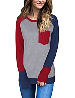 Women's Daily Going out Casual Street chic Spring Fall T-shirt,Color Block Round Neck Long Sleeves Polyester Medium