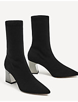 Women's Shoes Nappa Leather Winter Basic Pump Fashion Boots Boots Chunky Heel Booties/Ankle Boots For Casual Black