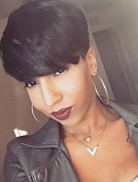 Women Human Hair Capless Wigs Black Short Straight African American Wig
