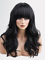 женщины человеческие волосы capless парики средний каштановый / отбеливатель блондинка медовый блондин черный длинный волнистый