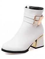 Damen Schuhe Kunstleder PU Herbst Winter Komfort Neuheit Stiefeletten Stiefel Blockabsatz Runde Zehe Booties / Stiefeletten Schnalle Für