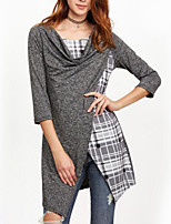 cheap -Women's Daily Holiday Casual Street chic Spring Fall T-shirt,Plaid Round Neck Long Sleeve Polyester