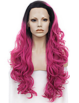 Men Women Synthetic Wig Lace Front Long Wavy Pink Dark Roots Natural Hairline Drag Wig Party Wig Halloween Wig Cosplay Wig Natural Wigs