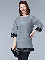 Mujer Sofisticado Casual/Diario Camiseta,Escote Redondo Bloques Manga 3/4 Poliéster