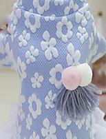 Cachorro Vestidos Roupas para Cães Terylene Plumagem Algodão Inverno Estilo Boêmio Sólido Azul Rosa claro Para animais de estimação