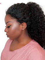 economico -Donna Parrucche di capelli umani con retina Malese Cappelli veri Lace frontale 250% Densità Con ciuffetti Tessuto riccio Parrucca Nero