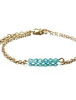 Femme Bracelet de cheville/Bracelet Cristal Alliage Mode Bling Bling Forme Ronde Formé Carrée Bijoux Pour Quotidien Plage