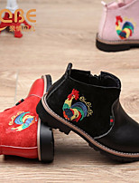Girls' Shoes Real Leather Spring Fall Comfort Boots Booties/Ankle Boots For Casual Blushing Pink Red Dark Grey Black