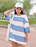 Women's Daily Sports Active T-shirt,Striped Round Neck Short Sleeves Cotton
