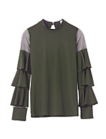 Women's Going out Cute T-shirt,Solid Round Neck Long Sleeves Cotton