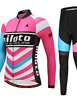 Miloto Cycling Jersey with Tights Women's Long Sleeves Bike Clothing Suits Stretchy Autumn/Fall Winter Cycling/Bike Black/Red