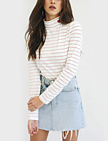 Women's Daily Holiday Casual Street chic Fall T-shirt,Striped Turtleneck Long Sleeves Polyester