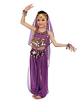 Belly Dance Outfits Children's Performance Polyester Chiffon Paillette Sleeveless Natural Tops Pants Bracelets Headpieces