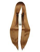 Femme Perruque Synthétique Long Droit crépu Marron Perruque de Cosplay Perruque Déguisement
