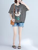 T-shirt Da donna Casual Attivo A strisce Con stampe Con cappuccio Cotone Manica corta