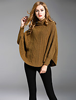 ALLA ONER Women's Going out Casual/Daily Regular Pullover,Solid Turtleneck Long Sleeves Rayon Polyester Nylon Fall Winter Medium Micro-elastic