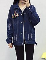 Feminino Jaqueta jeans Casual Simples Outono,Estampado Padrão Algodão Colarinho de Camisa Manga Longa