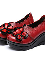 Women's Shoes Cowhide Spring Fall Comfort Heels For Casual Red Black