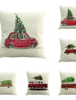 Set Of 6 Customize Personality Car With Christmas Trees Merry Christmas 45*45 Sofa Cushion Cover