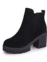 Women's Shoes Suede Fall Combat Boots Boots Chunky Heel Round Toe Gore For Casual Green Black