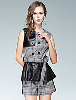 Women's Daily Going out Street chic Fall Tank Top Pant Suits,Plaid/Check V Neck Sleeveless Peplum Cotton Spandex Inelastic