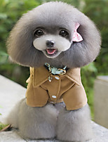 Dog Coat Dog Clothes Casual/Daily British Black Gray Coffee Costume For Pets