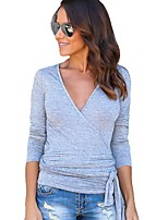 Women's Daily Winter Fall T-shirt,Solid Deep V Long Sleeves Cotton Rayon Thin