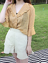 Women's Casual/Daily Cute Blouse,Print V Neck 3/4 Length Sleeves Polyester